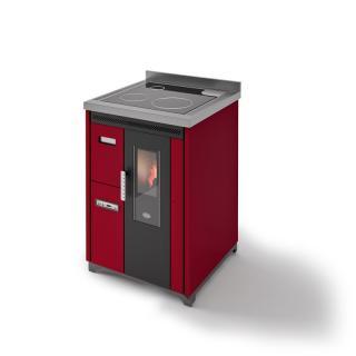Cuisinière à granules ventilée - EVACALOR Nina 7.5 Kw (version pose libre et plaque vitrocéramique)