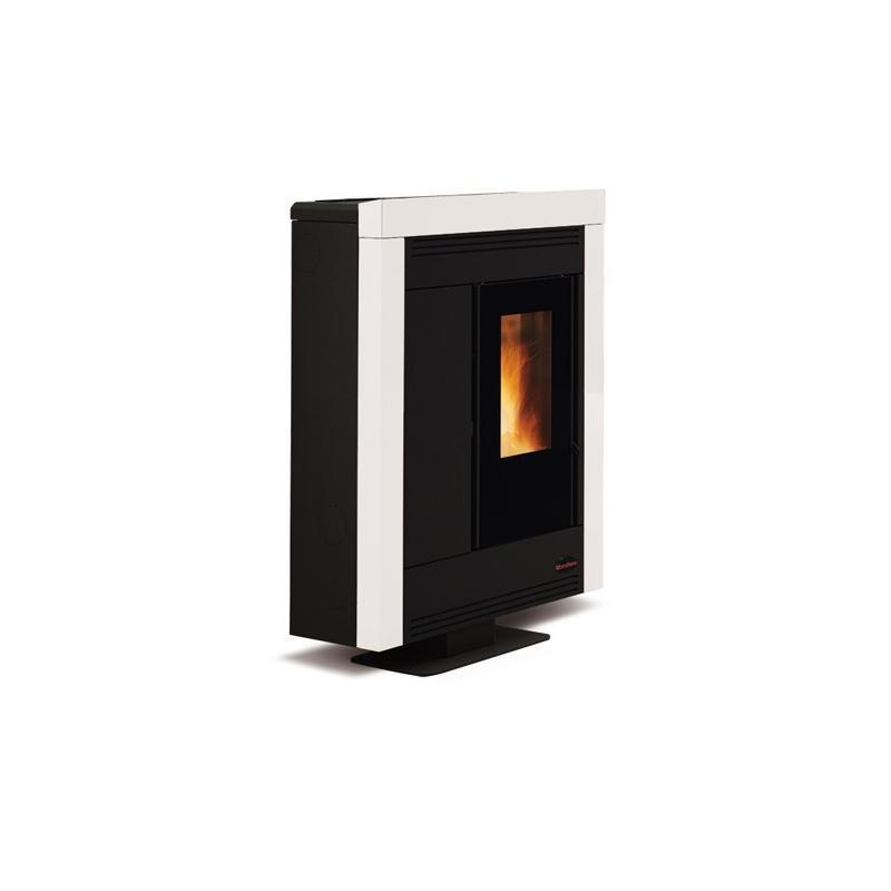 Poêle à granules ventilé extra plat céramique canalisable - EXTRAFLAME Souvenir Steel 10 kw