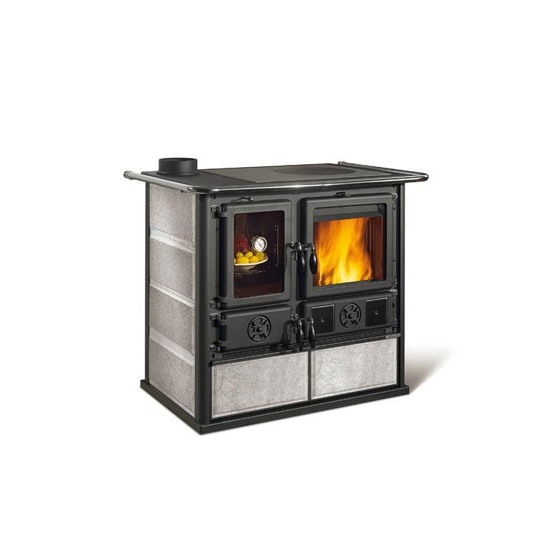 Cuisinière à bois revêtement pierre - NORDICA Rosa Sinistra Reverse 9,5 kW