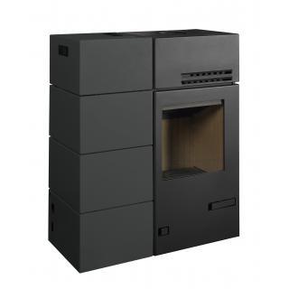 Poêle hybride bois granules - BRONPI Mixte Carol 15 kw bûches/granulés - couleur noire - Poêle Discount