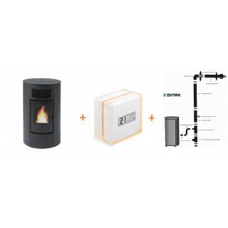 PACK Poêle à granulés Cinzia ORIGINE PH +  Kit ventouse Dinak + Thermostat connecté